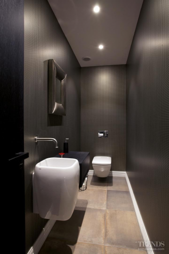 Injecting excitement into a powder room without windows. Image: 3