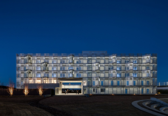 iHouse Dormitory in Togane, Chiba Prefecture, Japan at night. Image: 2