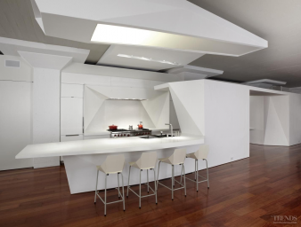 Galley style - All-white kitchen by Architect Matthew Bremer. Image: 3