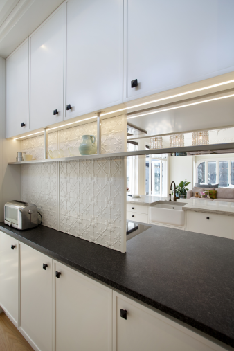 Mount Eden kitchen with sliding splashback. Image: 6