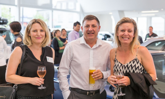Lizzie Atkins and Dean Davis  (Robertson Bathware) with Amy West (Paul Brown Architects). Image: 20