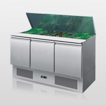 Atosa ESL3850:380 Ltr Triple Door Sliding Lid Saladette Counter. Image: 3