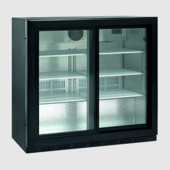 ScanCool 165 Ltr Double Glass Door Back Bar Fridge: SC-209-SL. Image: 2