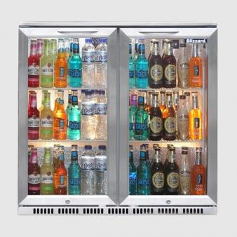 Blizzard BAR2SS Double Door Stainless Steel Bottle Cooler 130 Bottles. Image: 2